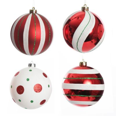 Candy Cane Dots and Stripes Christmas Baubles - Set of 4