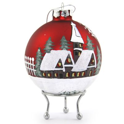 Red Christmas Village Christmas Bauble