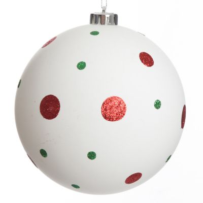 White Christmas Bauble with Red and Green Dots