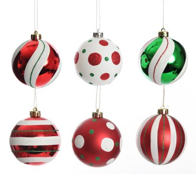 Candy Cane Dots and Stripes Christmas Baubles - Set of 6