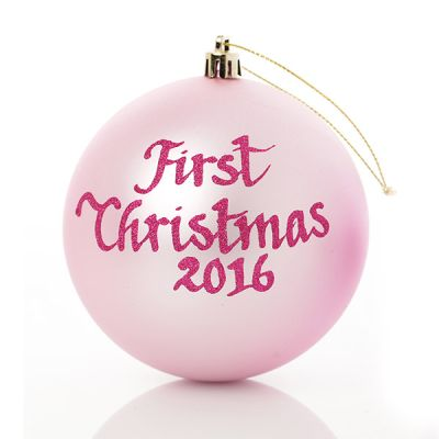 Baby Pink My First Christmas Personalised Bauble