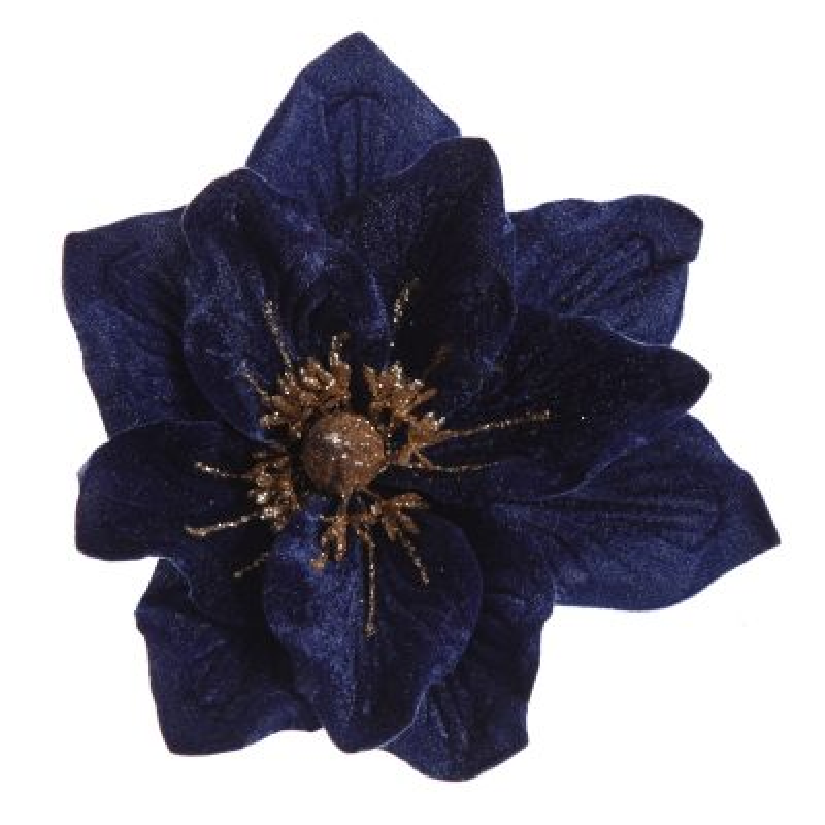 Blue Velvet Poinsettia Flower Clip with Gold Glitter Trim