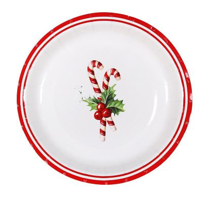 Candy Cane Christmas Paper Plates - 12 Pack