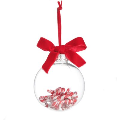 Candy Cane Filled Clear Shatterproof Bauble