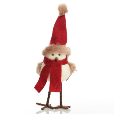 Cute Christmas Bird with Red Hat and Scarf