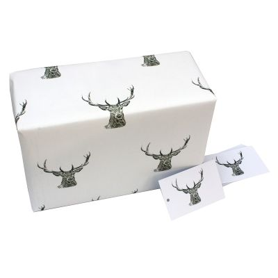 Eco-Friendly Design wrapping paper - Black & White Stags