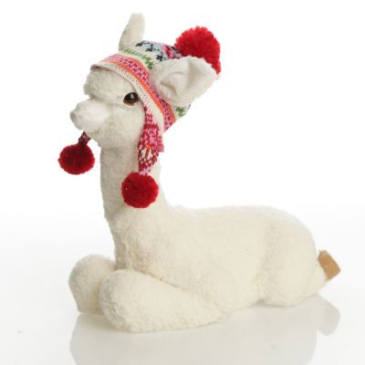 Fluffy White Llama with Hat - Sitting