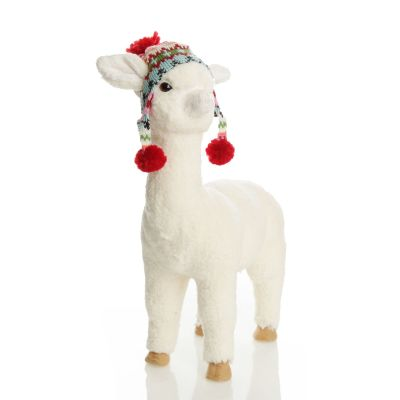 Fluffy White Llama with Hat - Standing