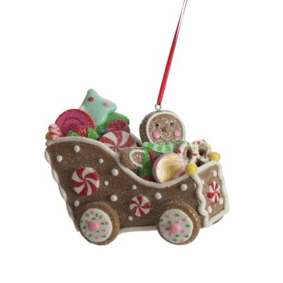 Gingerbread Man in Car Christmas Tree Decoration