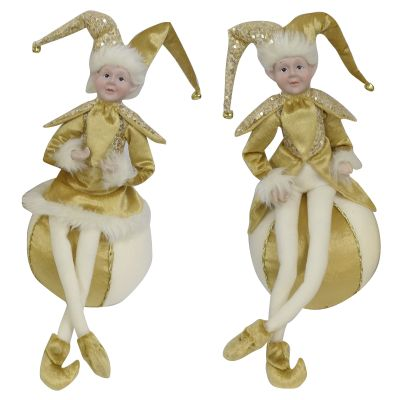 Gold Elf on Bauble Christmas Ornament