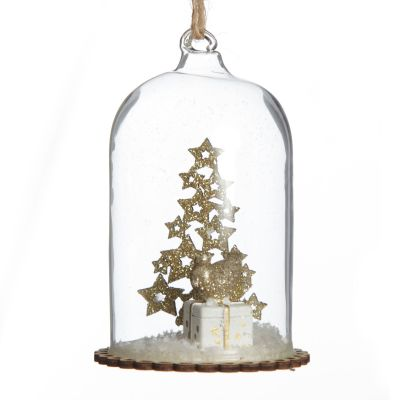 Hanging Cloche Tree Decoration with Christmas Tree