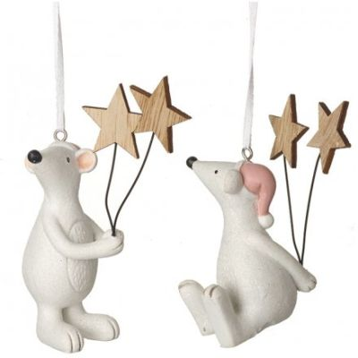 Hanging Posed Mice with Stars - Set of 2