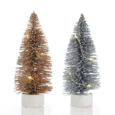 Lightup LED Champagne and Silver Bottle Brush Tree - Small Set of 2