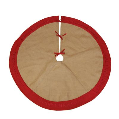 Burlap Merry Christmas Tree Skirt - Red Trim whole product