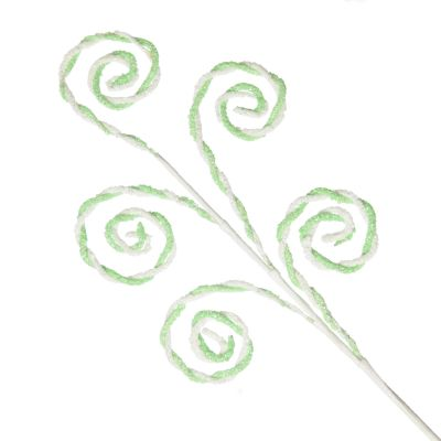 Mint and White Chenille Stick Candy Cane Christmas Pick