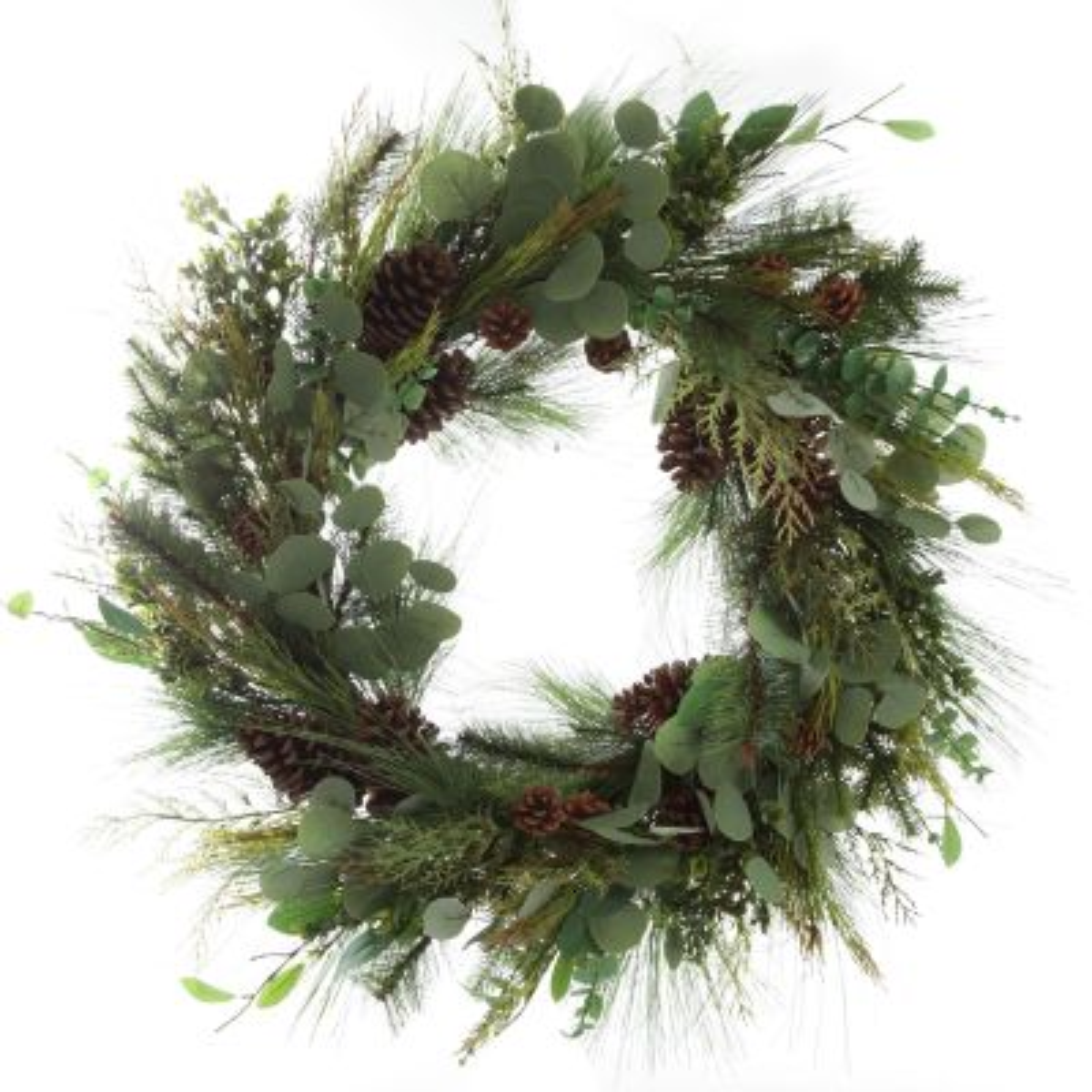 Native Eucalyptus Leaf Christmas Wreath with Pinecones