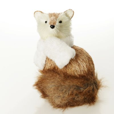 Natural Sisal Fox with white fluffy scarf