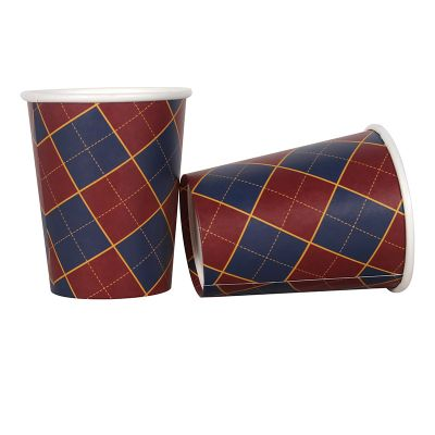 Navy and Red Tartan Christmas Paper Cups - 12 Pack