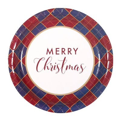 Navy and Red Tartan Christmas Paper Plates - 12 Pack
