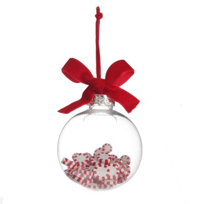 Peppermint Candy Filled Bauble Clear Shatterproof Bauble