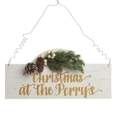 Personalised Arched Country Christmas Wood Plaque - Version 1