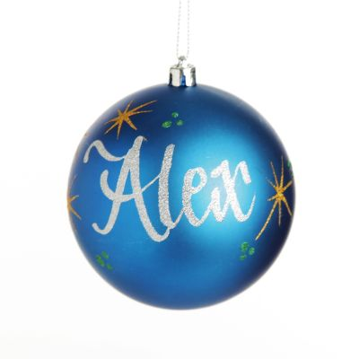 Personalised Blue Christmas Bauble Decoration