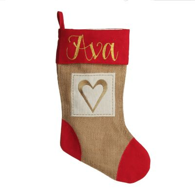 Burlap and Linen Heart Stocking with Red Trim