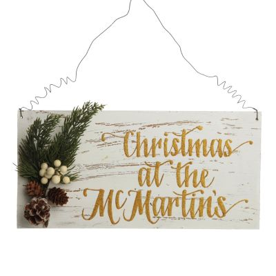 Personalised Country Christmas Wood Plaque with White Berry - version 2