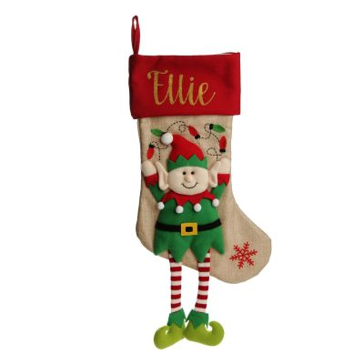 Personalised Elf Christmas Stocking with Dangly Legs