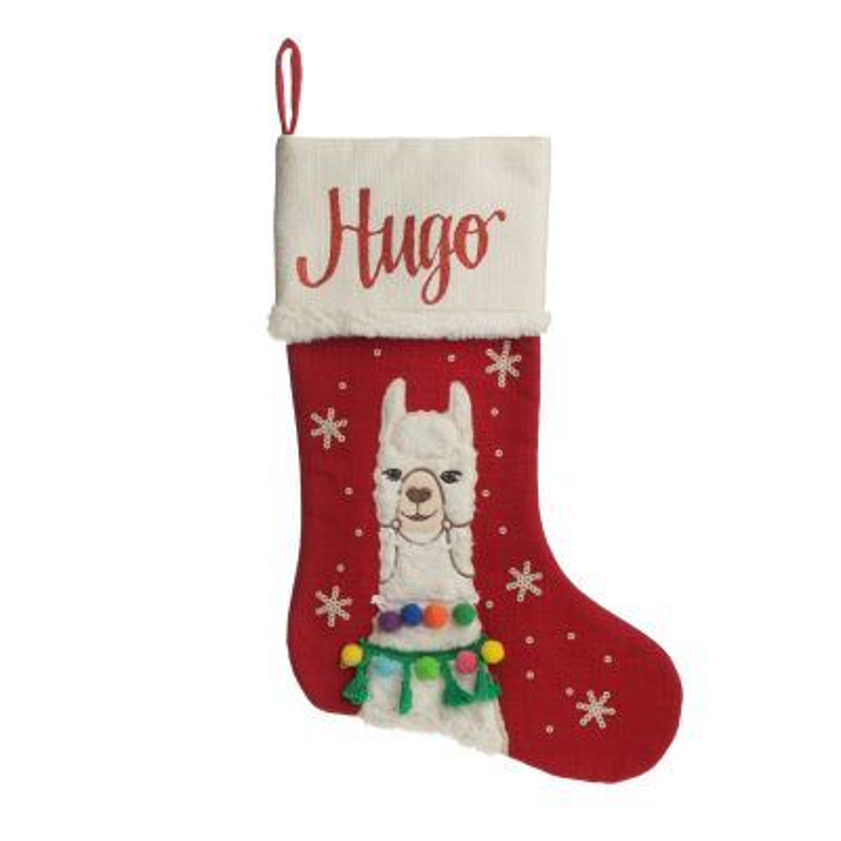 Personalised Fluffy Boy Llama Red Christmas Stocking