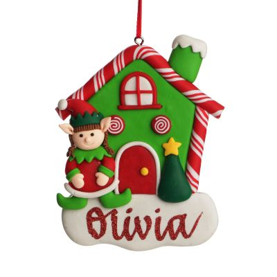 Personalised Gingerbread House Decoration with Girl Elf