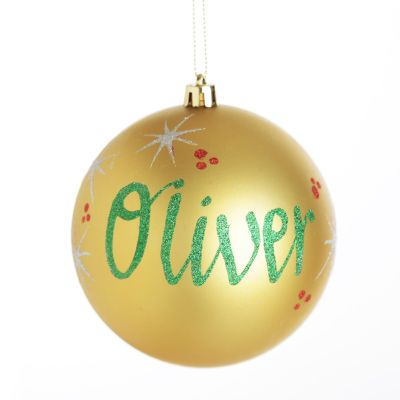 Personalised Gold Shatterproof Christmas Bauble