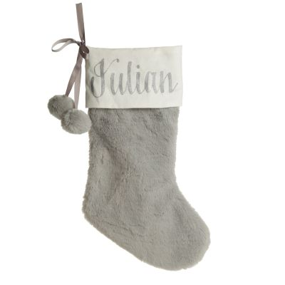 Personalised Grey Fur Christmas Stocking with Pom Poms whole product