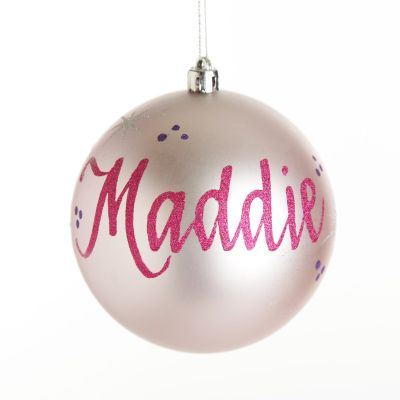 Personalised Baby Pink Christmas Bauble Decoration