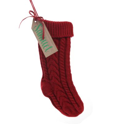 Personalised Red Knitted Christmas Stocking