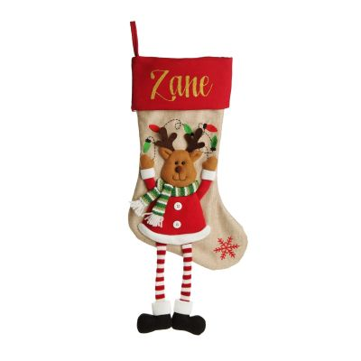 Personalised Reindeer Christmas Stocking with Dangly Legs