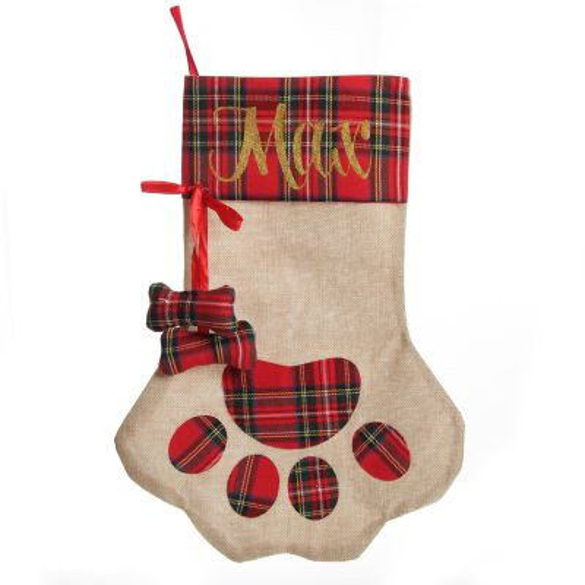 Personalised Tartan Dog Paw Christmas Stocking
