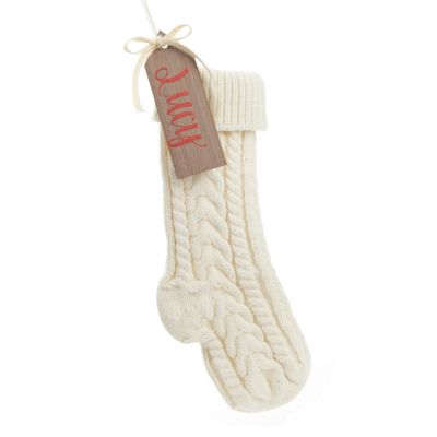 Personalised White Knitted Christmas Stocking