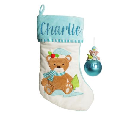 Baby Blue Teddy Bear Stocking and Bauble Pack