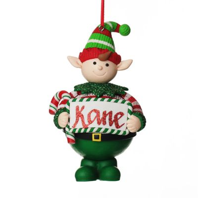 Personalised Boy Elf with Candy Cane Christmas Front