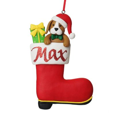 Personalised Dog in Santa Boot Christmas Decoration