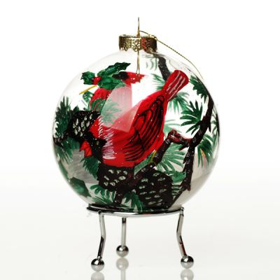 Personalised Inside Painted Cardinal Bird Christmas Bauble Whole product