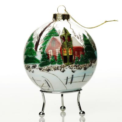 Personalised Inside Painted Church Christmas Bauble Whole product