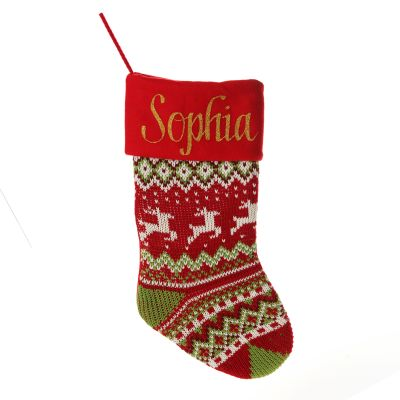 Personalised Knitted Tree Christmas Stocking - Red Cuff