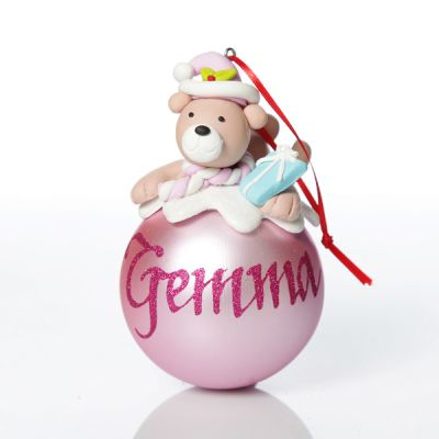 Personalised Pink Teddy Christms Character Bauble