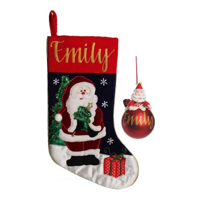 Personalised Santa Stocking and Bauble Pack