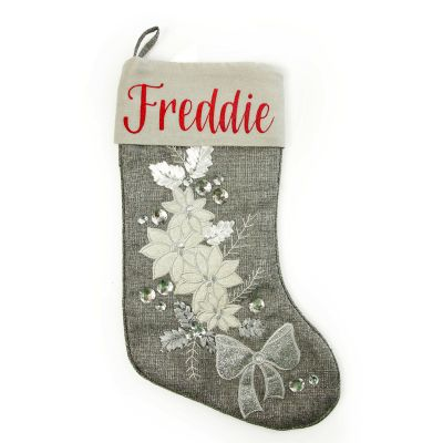 Personalisided Embroidered Red Tree Velvet Stocking