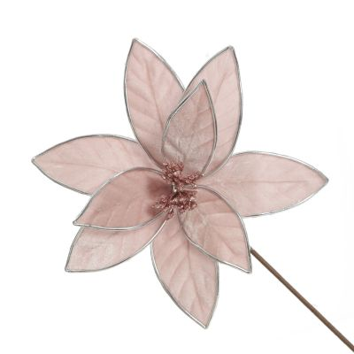 Pink Velvet Flower Stem with Silver Trim