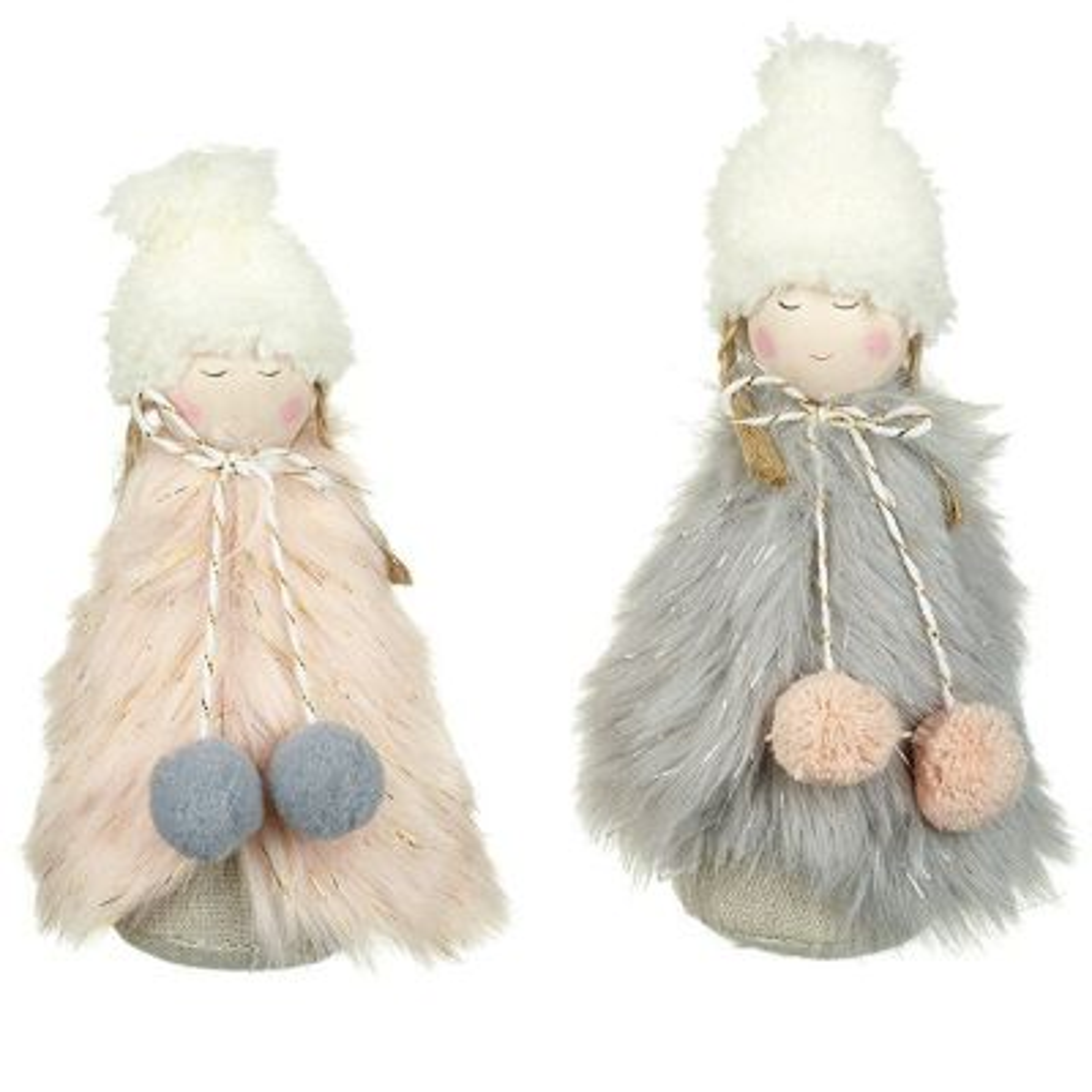 Pink/Grey Faux Fur Angels