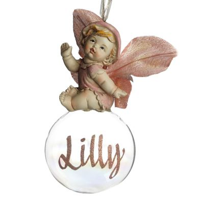 Pink Gumnut Baby Christmas Bauble Front